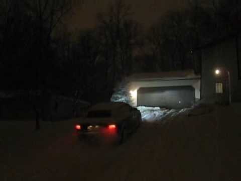 Driving Up A Steep Driveway In The Snow Second Attempt Youtube