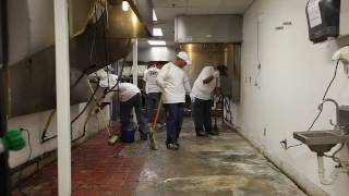 Golden Corral Silikal America commercial kitchen flooring installation.