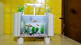 aquarium dari pipa pvc bekas/aquarium from used pvc pipes