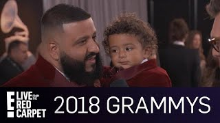 DJ Khaled Brings His Son Asahd to the 2018 Grammy Awards  E Live from the Red Carpet