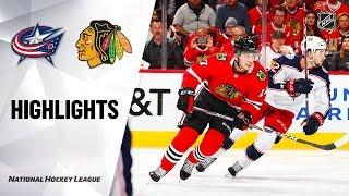 NHL Highlights | Blue Jackets @ Blackhawks 10/18/19