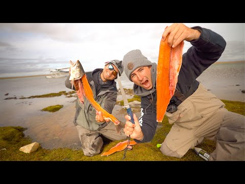 Eating RAW Fish!! (Catch + Don't Cook = Arctic SUSHI)