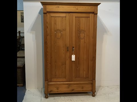 small-polished-antique-pine-wardrobe-for-sale---pinefinders-old-pine-furniture-warehouse