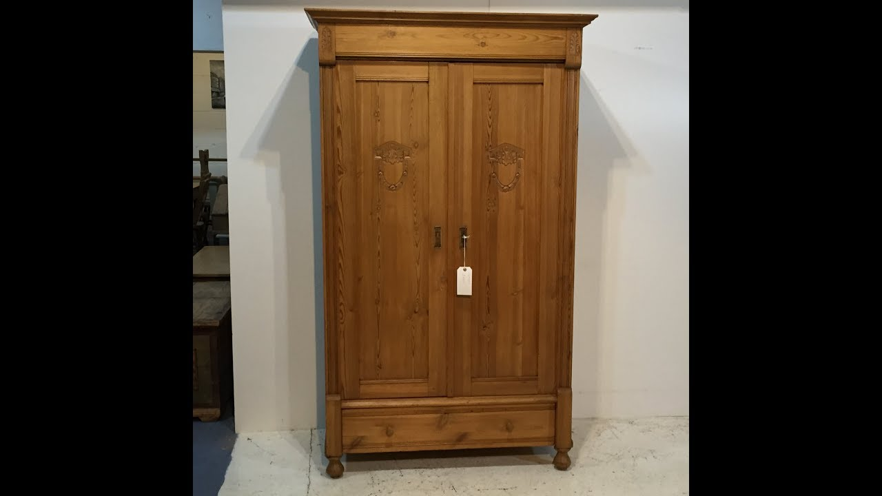 Small Polished Antique Pine Wardrobe for sale - Pinefinders Old Pine  Furniture Warehouse - Small Polished Antique Pine Wardrobe For Sale - Pinefinders Old Pine