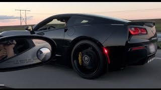 2014 C7 Corvette battles modded C6 Corvette!