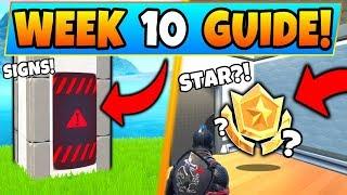 Fortnite WEEK 10 CHALLENGES! - Public Service Announcement Signs (Battle Royale Season 9 Guide)