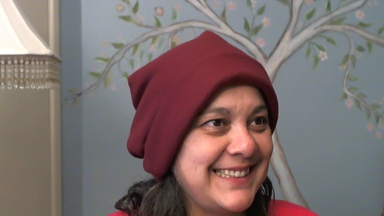 Easy to sew fleece slouchy beanie (only 1 piece) in half an hour ... c4a1b64e3ea