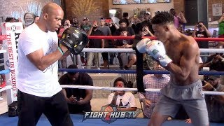 ERROL SPENCE WORKING OUT ON THE MITTS 1 WEEK BEFORE SHAWN PORTER FIGHT