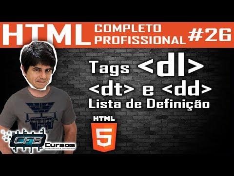 Lista De Definição, Tags Dl, Dt E Dd - Curso De HTML Completo E Profissional #26