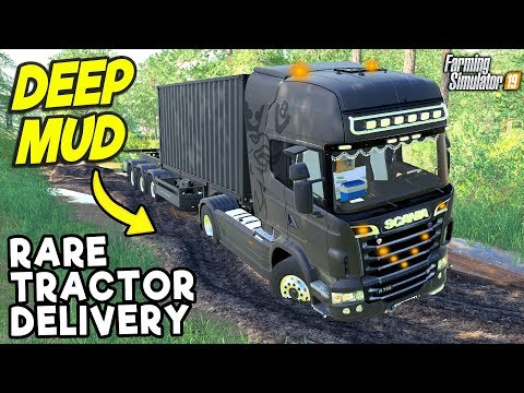 DELIVERING A RARE TRACTOR IN THE MUD | Farming Simulator 19 thumbnail