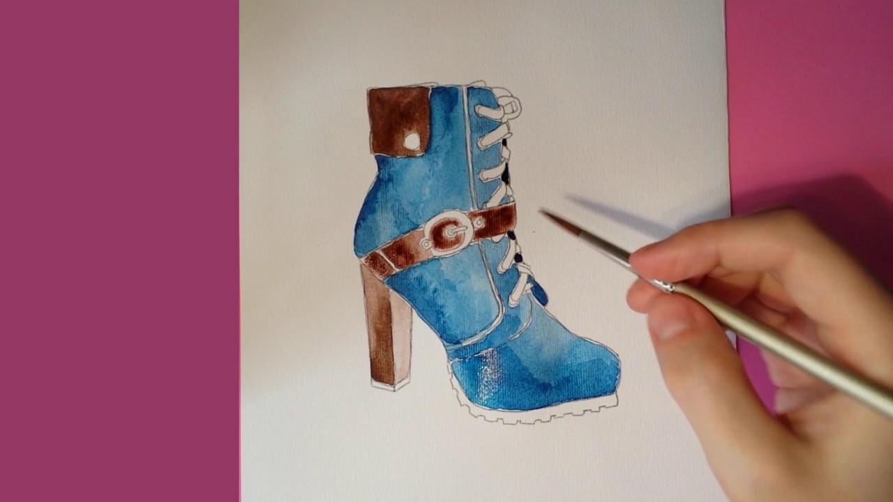 Aprender Youtube Zapato A Mujer Pintar De Con Acuarela Tutorial 4TdqP8d