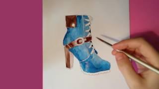 Tutorial, aprender a pintar con acuarela : Zapato de mujer