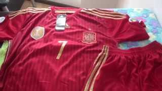 Spain #7 David Villa Red soccer jersey 2014 World Cup