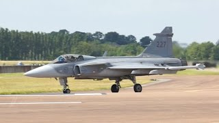 JAS-39C Gripen Swedish Air Force departure on Wednesday RIAT 2014