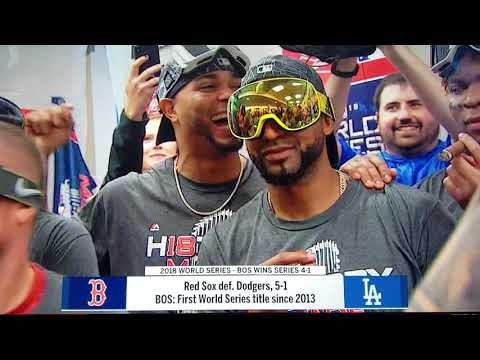 World Series champions Boston Red Sox locker room champagne celebration 2018 (full celebration)