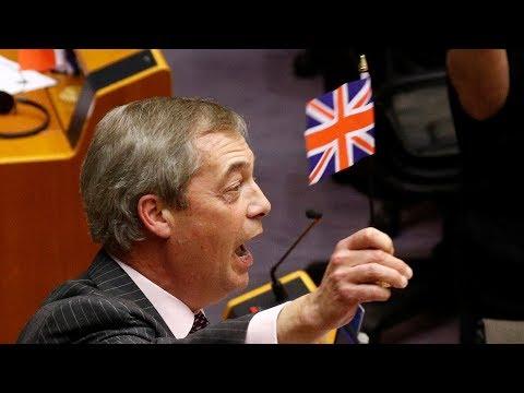 video: Flag-waving Nigel Farage cut off in farewell speech as European Parliament ratifies Brexit deal