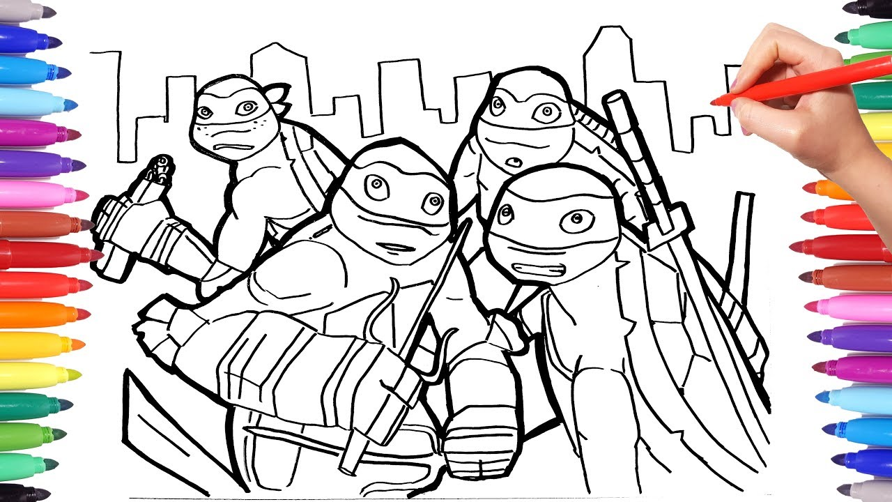 Teenage Mutant Ninja Turtles Coloring Pages | How to Draw TMNT | TMNT  Coloring Book
