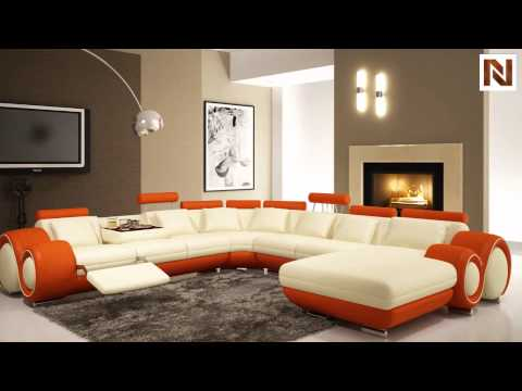 Modern Cream And Orange Sectional Sofa VGEV4084 5 From VIG Furniture