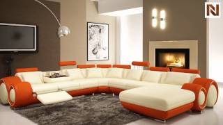 Modern Cream And Orange Sectional Sofa  Vgev4084-5 From Vig Furniture