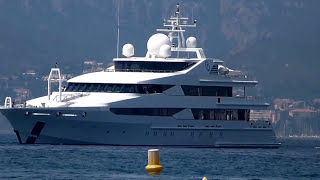 Superyacht Stargate, owned by the Royal Family of Qatar, entering the Port of Cannes