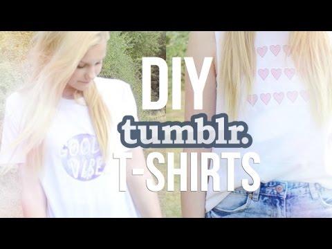 DIY | Tumblr Inspired T-shirts - YouTube