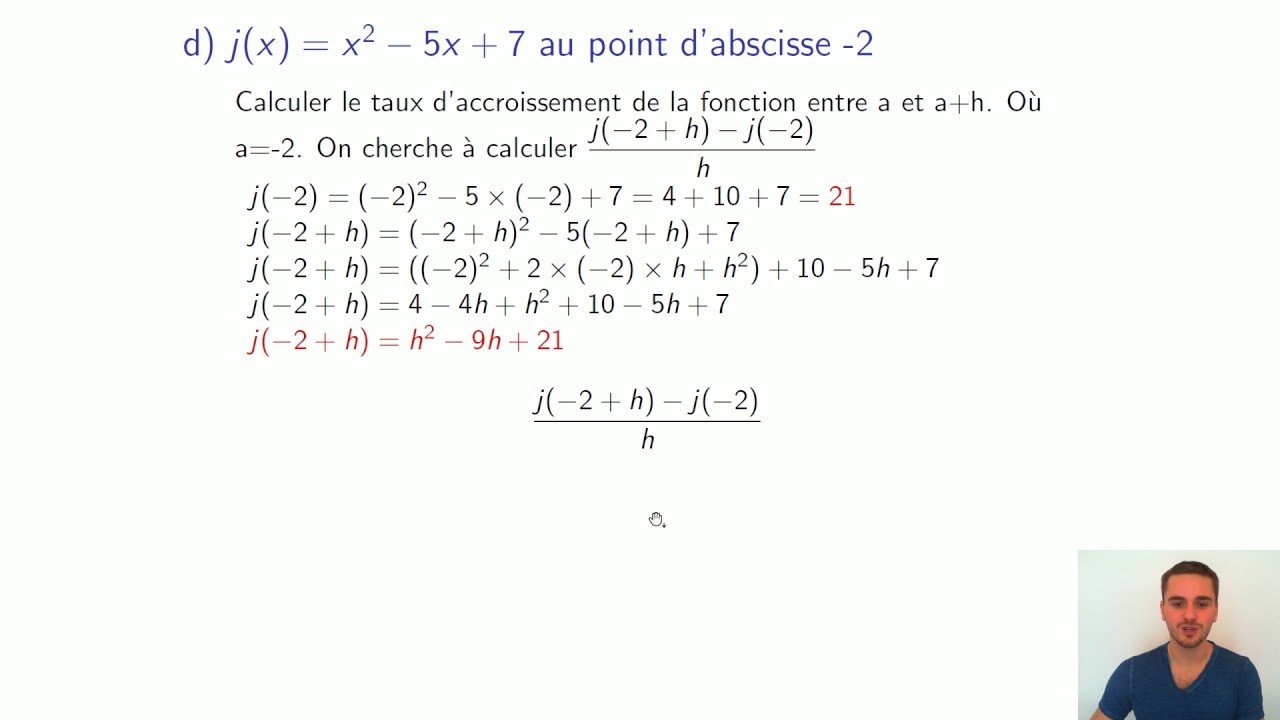 1S - Mathématiques - Dérivation - Exercice - Nombre Dérivé 4/4 - YouTube