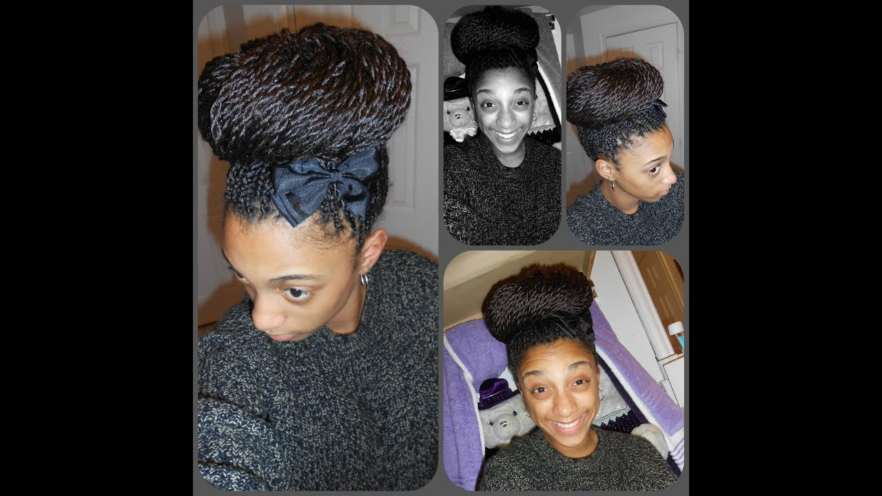 High Bun Senegalese Twist Youtube