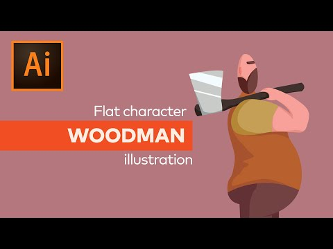 Flat woodman character - drawing and illustrating tutorial in Adobe Photoshop and Illustrator thumbnail