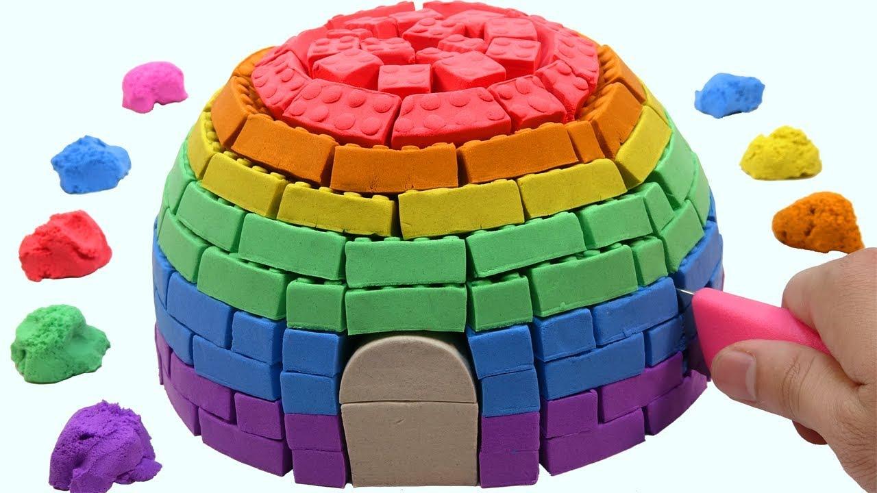 1ff6318a209 Learn Colors Kinetic Sand VS Mad Mattr Rainbow Hut Surprise Toys How To  Make For Children