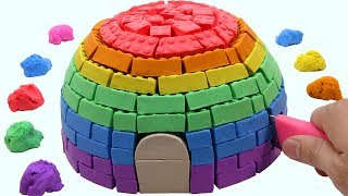 Learn Colors Kinetic Sand VS Mad Mattr Rainbow Hut Surprise Toys How To Make For Children