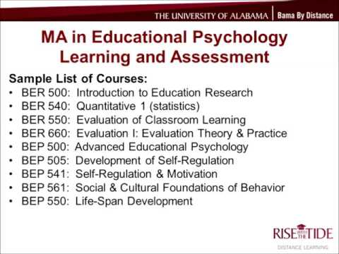 UA's Online MA in Educational Psychology - Learning and Assessment
