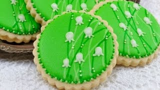 How To Decorate  Lily Of The Valley Cookies, Garden Tea Party Cookies