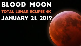 TOTAL LUNAR ECLIPSE 4K | Super Blood Wolf Moon Timelapse Footage | January 21, 2019