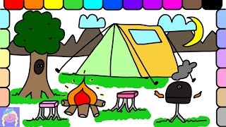 Learn How To Draw A Fun Camping Site With This Easy Drawing And Coloring Page For Kids