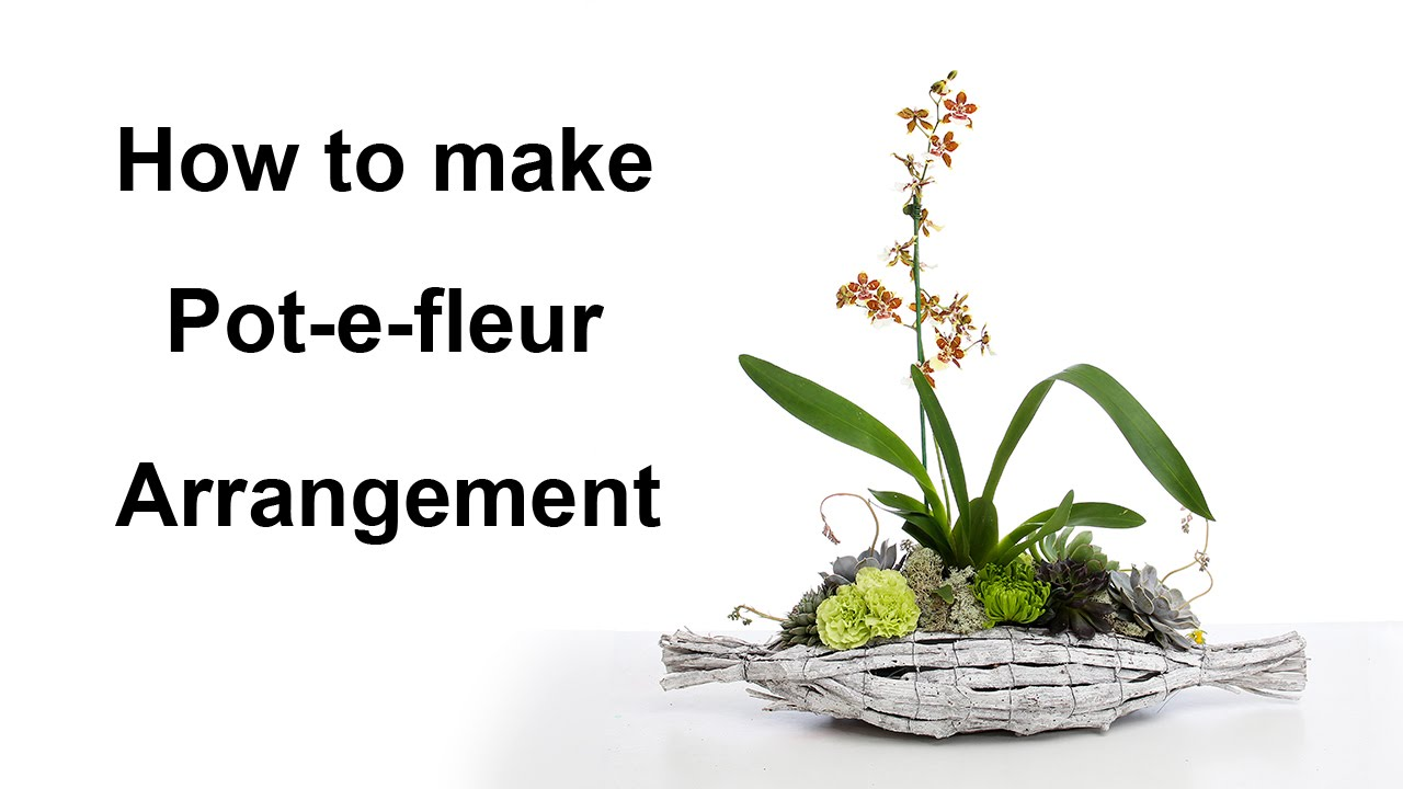 How To Make A Potefleur Arrangement Featuring Orchid And Succulent Flower  Joos