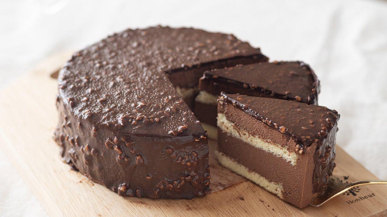 チョコレート&アーモンドのムースケーキの作り方 Chocolate & Almonds Mousse Cake|HidaMari Cooking