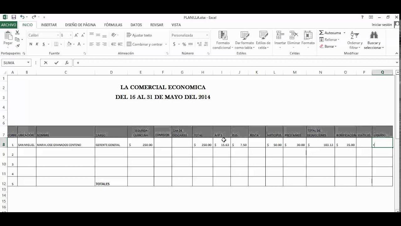 Tutorial Excel Planilla De Sueldo Funnydog Tv