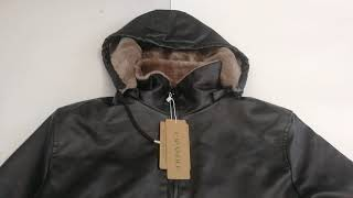CARANFIER Men Leather Jackets Winter Warm Coats Thick Outerwear Biker Motorcycle