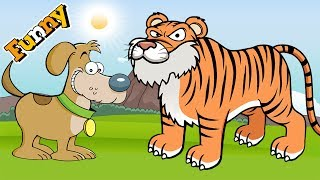 Dogs Cartoons for Children – Dog and Tiger - Funny Animals Cartoons For Children