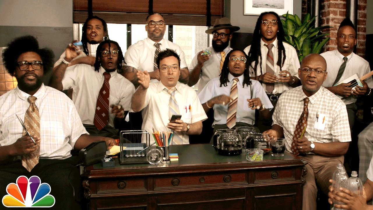 "Migos & The Roots Sing ""Bad and Boujee"" With Jimmy Fallon Using Office Supplies"