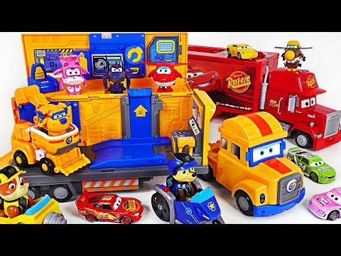 Super Wings Donnie Papa truck transforming headquarter Go! Fix Paw Patrol, Disney car! - DuDuPopTOY