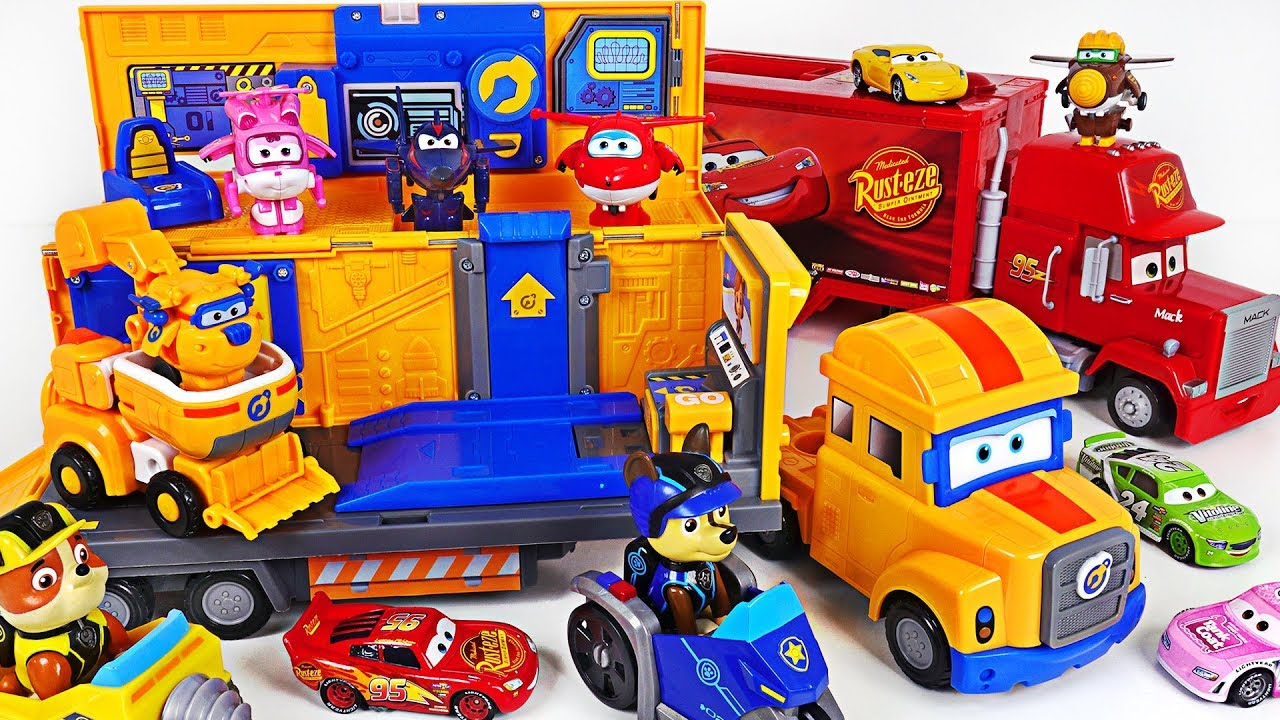 Super Wings Poppa Wheels transforming headquarter Go! Fix Paw Patrol, Disney cars! - DuDuPopTOY
