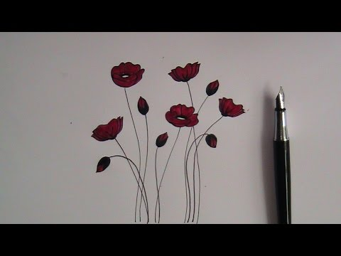 How to draw flowers for beginners easy version poppy flowers youtube how to draw flowers for beginners easy version poppy flowers mightylinksfo