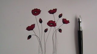 how to draw flowers for beginners- easy version poppy flowers