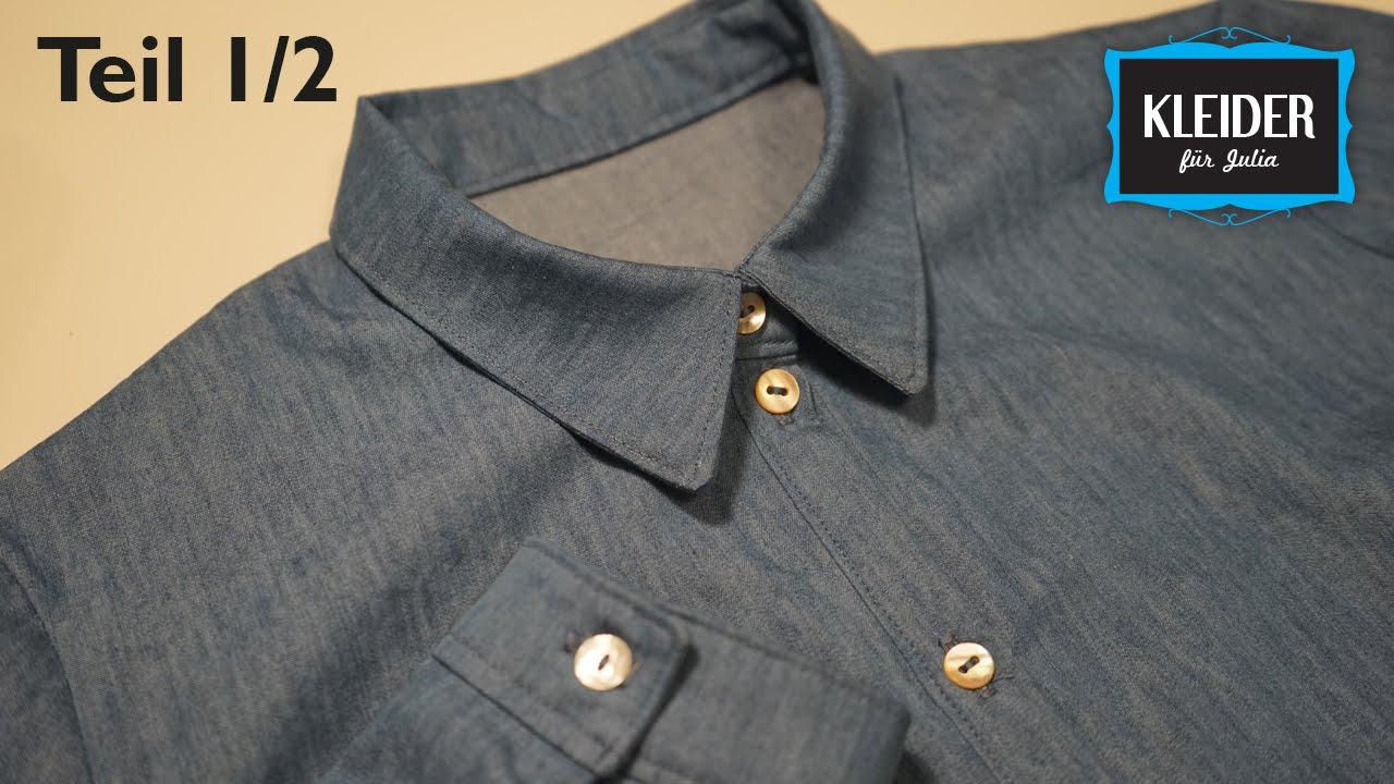 Blusenkleid selbst nähen // Jeanskleid (Teil 1/2) - YouTube