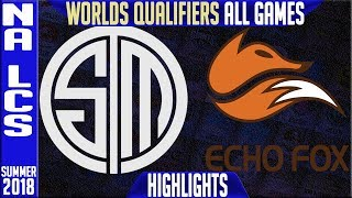 TSM v FOX Highlights ALL GAMES NA LCS Worlds Qualifiers Semi's Summer 2018 | Team Solomid v Echo Fox