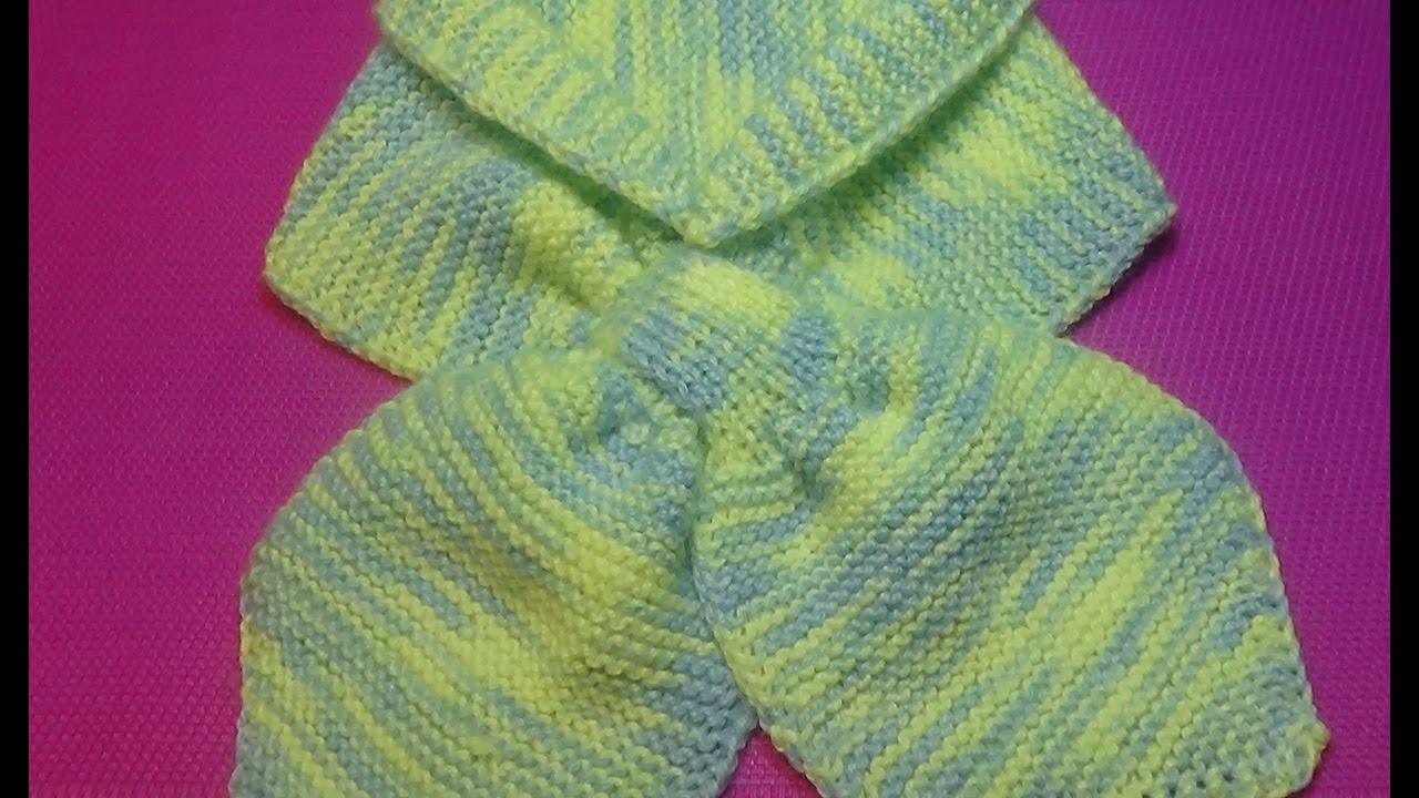 вязание спицами детский шарфик с двойной петлей 141 Youtube