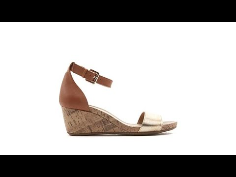 a7675e583e Naturalizer Cami Leather Ankle Strap Wedge Sandal - YouTube