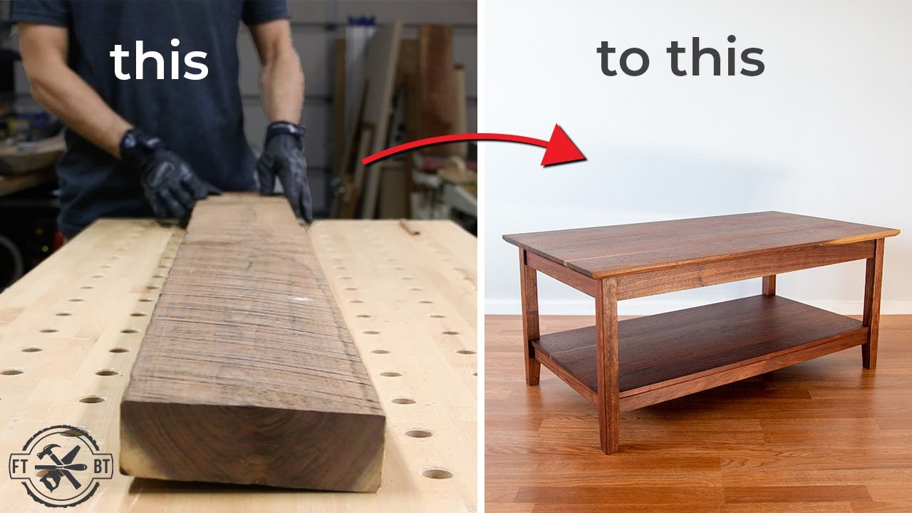 how to build a coffee table from rough wood diy woodworking