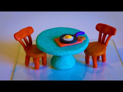 DIY Make Polymer Clay Miniature Dining Table and Chair Set| Mini Polymer Clay Furniture kitchen set